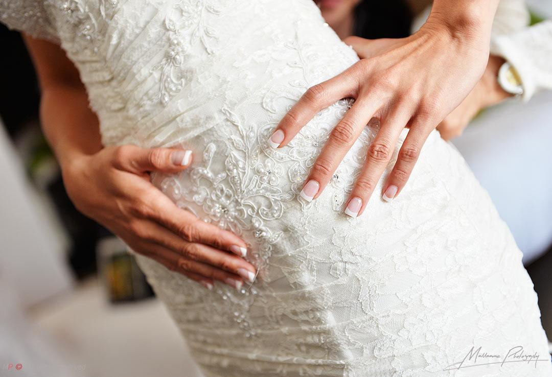 detail of wedding dresses in a playa del carmen wedding