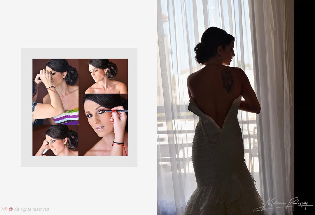 Novia preparándose para su boda en Playa del Carmen