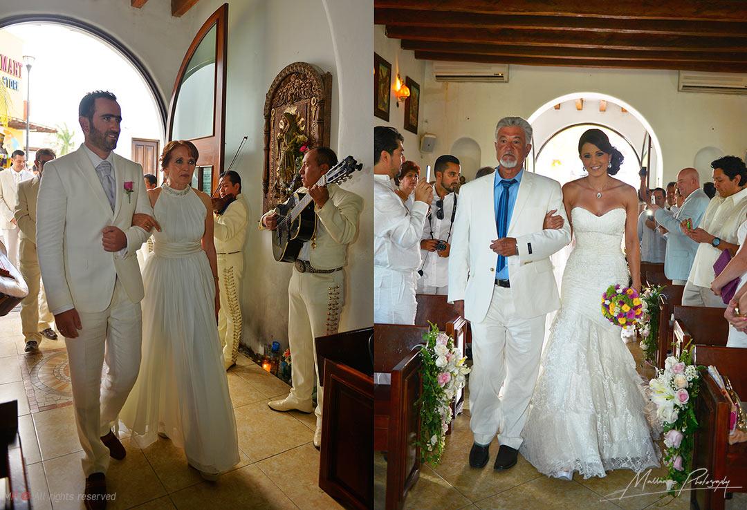Novios entrando a la iglesia de playa del Carmen