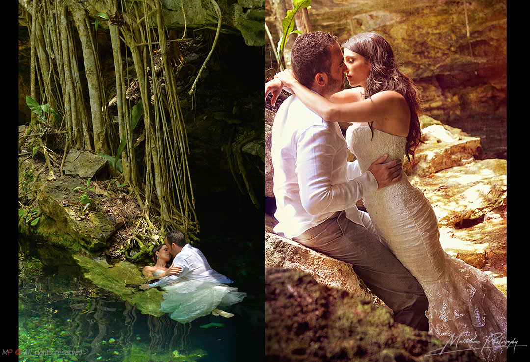 Magic pictures from a Playa del Carmen wedding - Grooms in a Cenote taking nice Trah the dress pictures